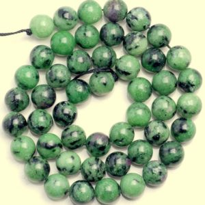 Shop Ruby Zoisite Round Beads! 10 Strands 8mm Ruby Zoisite Gemstone Green Red Grade AA Round Loose Beads 15.5 inch Full Strand BULK LOT (80004979-452 x10) | Natural genuine round Ruby Zoisite beads for beading and jewelry making.  #jewelry #beads #beadedjewelry #diyjewelry #jewelrymaking #beadstore #beading #affiliate #ad
