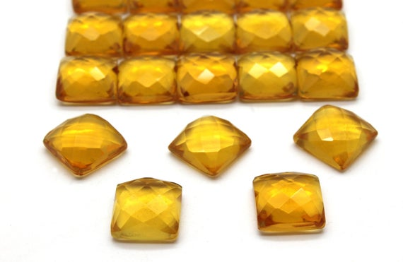 12x12mm Square Citrine,citrine Cabochon,faceted Citrine,faceted Gemstone,square Cabochons,gemstone Cabochons - Aa Quality - 1 Stone