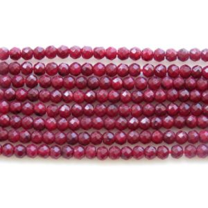 Shop Ruby Round Beads! 2.5mm Ruby Corundum Faceted Round Beads, Enhanced Faceted Round Ruby Corundum Rondelle Beads, 12 Inch Ruby Bead Strand, GDS1455 | Natural genuine round Ruby beads for beading and jewelry making.  #jewelry #beads #beadedjewelry #diyjewelry #jewelrymaking #beadstore #beading #affiliate #ad