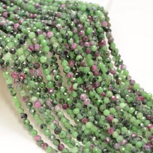 Shop Ruby Zoisite Faceted Beads! 3MM Ruby Zoisite Gemstone Green Red Micro Faceted Round Grade Aaa Beads 15inch BULK LOT 1,6,12,24 and 48  (80010196-A193) | Natural genuine faceted Ruby Zoisite beads for beading and jewelry making.  #jewelry #beads #beadedjewelry #diyjewelry #jewelrymaking #beadstore #beading #affiliate #ad