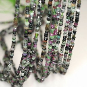 3x2mm Ruby Zoisite Gemstone Grade B Faceted Rondelle 3x2mm Loose Beads 16 inch Full Strand (90192093-343) | Natural genuine rondelle Ruby Zoisite beads for beading and jewelry making.  #jewelry #beads #beadedjewelry #diyjewelry #jewelrymaking #beadstore #beading #affiliate #ad