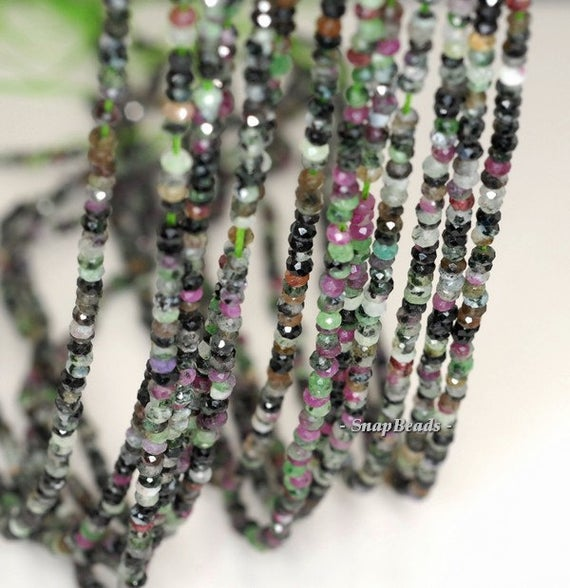 3x2mm Ruby Zoisite Gemstone Grade B Faceted Rondelle 3x2mm Loose Beads 16 Inch Full Strand (90192093-343)