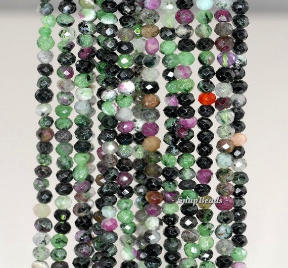 4x3mm Ruby Zoisite Gemstone Grade A Faceted Rondelle 4x3mm Loose Beads 7.5 Inch Half Strand (90191942-341)
