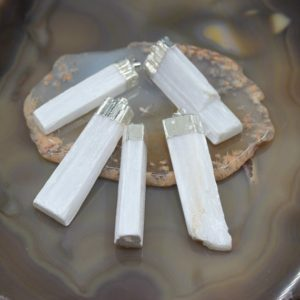 Shop Selenite Pendants! 5pcs/lot Raw White Selenite Rectangle Slender Pendants,Plated Silver Rough Gypsum Quartz Slice Slab Stick Nugget Necklace Charms Jewelry | Natural genuine Selenite pendants. Buy crystal jewelry, handmade handcrafted artisan jewelry for women.  Unique handmade gift ideas. #jewelry #beadedpendants #beadedjewelry #gift #shopping #handmadejewelry #fashion #style #product #pendants #affiliate #ad