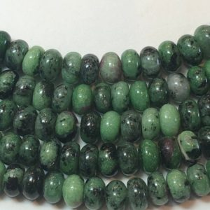"Shop Ruby Zoisite Rondelle Beads! 5x8mm Rondelle Ruby in Zoisite Gemstone Beads. Full 15"" strand of AAA grade beads, 85 per strand. Green and black stone with Ruby splashes. 