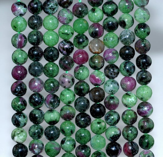 6mm Ruby Zoisite Gemstone Green Red Grade A Round Loose Beads 15.5 Inch Full Strand (80000364-783)