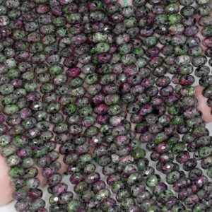 6x4mm Ruby Zoisite Jasper Gemstone Green Red Faceted Rondelle 6x4mm Loose Beads 15 inch Full Strand LOT 1,2,6,12 and 50 (90182830-777) | Natural genuine rondelle Ruby Zoisite beads for beading and jewelry making.  #jewelry #beads #beadedjewelry #diyjewelry #jewelrymaking #beadstore #beading #affiliate #ad