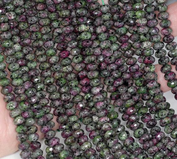 6x4mm Ruby Zoisite Jasper Gemstone Green Red Faceted Rondelle 6x4mm Loose Beads 15 Inch Full Strand Lot 1,2,6,12 And 50 (90182830-777)