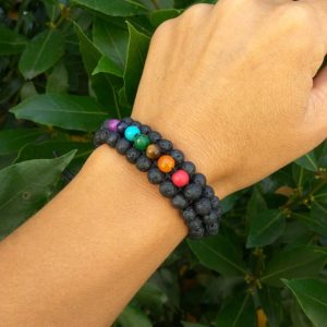 Shop Chakra Beads! 7 Chakra Beaded bracelet for Yoga Lovers, Lava Beads Bracelet, Wrist Mala Bracelet, Zen jewelry, Healing Stones Accessories | Shop jewelry making and beading supplies, tools & findings for DIY jewelry making and crafts. #jewelrymaking #diyjewelry #jewelrycrafts #jewelrysupplies #beading #affiliate #ad