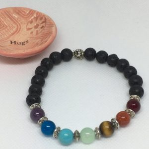 Shop Chakra Beads! 7 Chakras Beaded Diffuser Bracelet with Essential Oil Glass Roller | Shop jewelry making and beading supplies, tools & findings for DIY jewelry making and crafts. #jewelrymaking #diyjewelry #jewelrycrafts #jewelrysupplies #beading #affiliate #ad