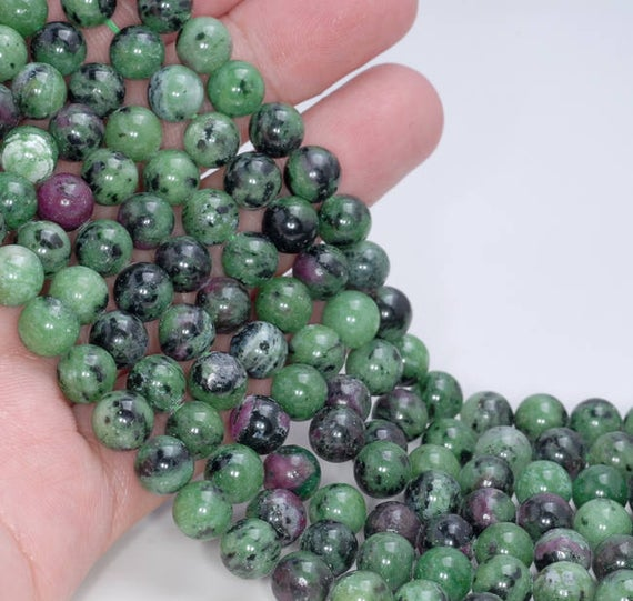 8mm Ruby Zoisite Gemstone Green Red Grade Aa Round Loose Beads 15.5 Inch Full Strand Lot 1,2,6,12 And 50 (80004979-452)