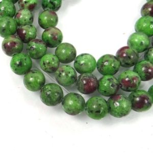 Shop Ruby Zoisite Round Beads! 8mm Ruby Zoisite Round Beads Full Strand (e8003) | Natural genuine round Ruby Zoisite beads for beading and jewelry making.  #jewelry #beads #beadedjewelry #diyjewelry #jewelrymaking #beadstore #beading #affiliate #ad
