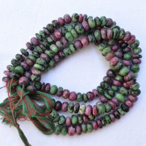 "Shop Ruby Zoisite Rondelle Beads! 8mm Zoisite Beads, Ruby Zoisite Gemstone, Faceted Beads Necklace, Green Color Beads, Gemstone For Jewelery Making, 8.5"" Strand #PP4513 