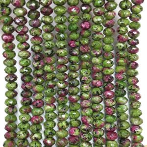8x5mm Faceted Ruby Zoisite Rondelle Beads, Gemstone Beads, Wholesale Beads | Natural genuine rondelle Ruby Zoisite beads for beading and jewelry making.  #jewelry #beads #beadedjewelry #diyjewelry #jewelrymaking #beadstore #beading #affiliate #ad
