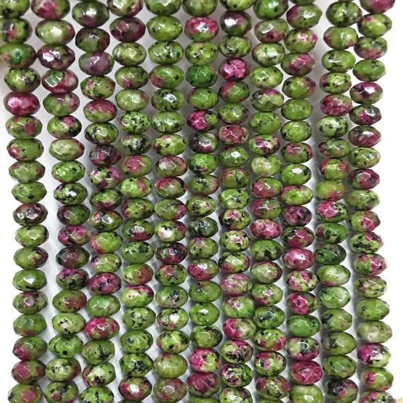 8x5mm Faceted Ruby Zoisite Rondelle Beads, Gemstone Beads, Wholesale Beads