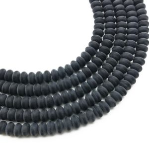 Shop Onyx Rondelle Beads! 8x5mm Matte Black Onyx Rondelle Beads, Black Agate Beads, Round Gemstone Beads | Natural genuine rondelle Onyx beads for beading and jewelry making.  #jewelry #beads #beadedjewelry #diyjewelry #jewelrymaking #beadstore #beading #affiliate #ad