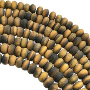 Shop Tiger Eye Rondelle Beads! 8x5mm Matte Yellow Tiger Eye Rondelle Beads, Gemstone Beads, Wholesale Beads   Natural genuine rondelle Tiger Eye beads for beading and jewelry making.  #jewelry #beads #beadedjewelry #diyjewelry #jewelrymaking #beadstore #beading #affiliate #ad