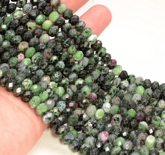 8x5mm Ruby Zoisite Gemstone Grade Ab Micro Faceted Rondelle Beads 15.5 Inch Full Strand Bulk Lot 1,2,6,12 And 50(80009944-a203)