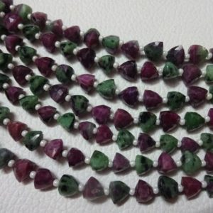 "Shop Ruby Zoisite Bead Shapes! AAA Grade Ruby Zoisite Faceted Briolette Trillion beads,Stright Drilled, Size 6 mm, 6"" Strand, Faceted Trillions, Super for Jewellery 