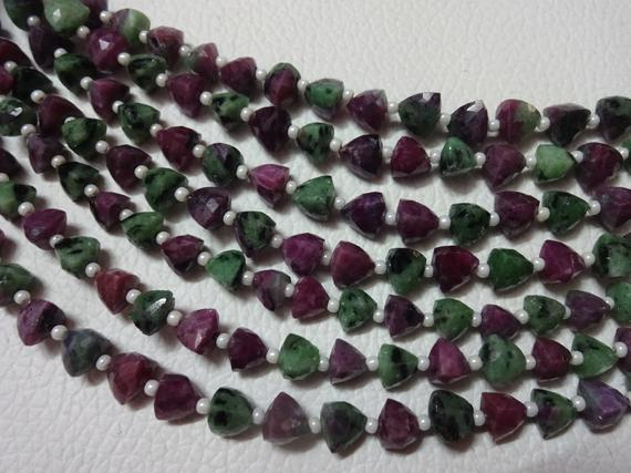 "Aaa Grade Ruby Zoisite Faceted Briolette Trillion Beads,stright Drilled, Size 6 Mm, 6"" Strand, Faceted Trillions, Super For Jewellery"