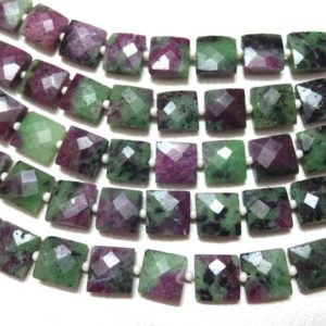 "Shop Ruby Zoisite Faceted Beads! AAA Grade Ruby Zoisite Faceted Square shape Briolette Beads, Size 7-10 mm, 8"" Strand Length, Super Quality gems for Jewellery 