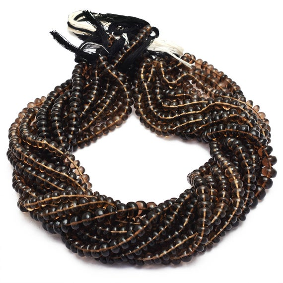 Aaa Smoky Quartz  Rondelle Beads | 5mm-8mm Smooth Beads 13inch Strand | Natural Brown Smoky Quartz Semi Precious Gemstone Beads For Jewelry