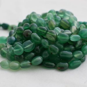 "Shop Agate Chip & Nugget Beads! High Quality Grade A Natural Green Agate Semi-precious Gemstone Pebble Tumbled stone Nugget Beads approx 7mm-10mm – 15"" strand 