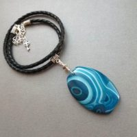 Pendant Blue Striped Agate. Pendant Necklace Natural Agate. Pendant Blue Stone On Leather Cord. Gift For Women. Gift For Her. For Sister. | Natural genuine Gemstone jewelry. Buy crystal jewelry, handmade handcrafted artisan jewelry for women.  Unique handmade gift ideas. #jewelry #beadedjewelry #beadedjewelry #gift #shopping #handmadejewelry #fashion #style #product #jewelry #affiliate #ad