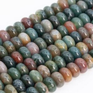 Shop Agate Rondelle Beads! Genuine Natural Multicolor Indian Agate Loose Beads Rondelle Shape 10x6MM | Natural genuine rondelle Agate beads for beading and jewelry making.  #jewelry #beads #beadedjewelry #diyjewelry #jewelrymaking #beadstore #beading #affiliate #ad