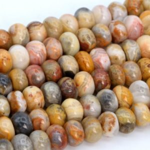 Shop Agate Rondelle Beads! Genuine Natural Orange Cream Crazy Lace Agate Loose Beads Rondelle Shape 6x4mm 8x5mm | Natural genuine rondelle Agate beads for beading and jewelry making.  #jewelry #beads #beadedjewelry #diyjewelry #jewelrymaking #beadstore #beading #affiliate #ad