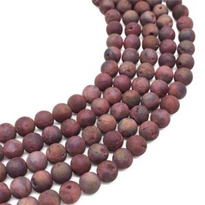 10mm Red Druzy Agate Beads, Geode Agate Beads, Round Gemstone Beads, Wholesale Beads | Natural genuine beads Gemstone beads for beading and jewelry making.  #jewelry #beads #beadedjewelry #diyjewelry #jewelrymaking #beadstore #beading #affiliate #ad
