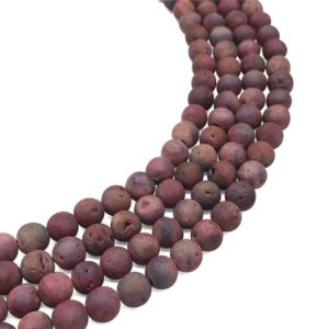 8mm Red Druzy Agate Beads, Geode Agate Beads, Round Gemstone Beads, Wholesale Beads | Natural genuine beads Gemstone beads for beading and jewelry making.  #jewelry #beads #beadedjewelry #diyjewelry #jewelrymaking #beadstore #beading #affiliate #ad