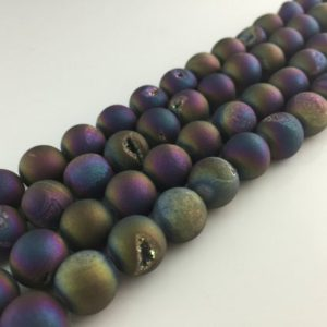 Rainbow Druzy Beads Titanium druzy Agate beads Metallic Agate Round Druzy Drusy Geode bead Supplies 8-10-12-14mm Gemstone Loose beads DAB | Natural genuine round Gemstone beads for beading and jewelry making.  #jewelry #beads #beadedjewelry #diyjewelry #jewelrymaking #beadstore #beading #affiliate #ad