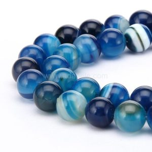 Shop Agate Round Beads! U Pick AAA Natural Blue Stripe Agate Gemstone 4mm 6mm 8mm 10mm Round Loose Gems Stone Beads 15 inch Per Strand for Jewelry Craft Making GS3 | Natural genuine round Agate beads for beading and jewelry making.  #jewelry #beads #beadedjewelry #diyjewelry #jewelrymaking #beadstore #beading #affiliate #ad