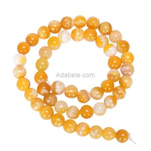 Shop Agate Round Beads! You Pick AAA Natural Yellow Stripe Agate 6mm 8mm 10mm Gemstone Round Loose Beads 15 inch Per Strand for Jewelry Craft Making GC17 | Natural genuine round Agate beads for beading and jewelry making.  #jewelry #beads #beadedjewelry #diyjewelry #jewelrymaking #beadstore #beading #affiliate #ad