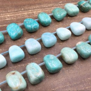 Shop Amazonite Chip & Nugget Beads! Green Amazonite Nugget Beads Tumbled Amazonite Crystal Nugget Beads Polished Crystals Top Drilled Jewelry Beads 18x24mm 17pieces / Strand | Natural genuine chip Amazonite beads for beading and jewelry making.  #jewelry #beads #beadedjewelry #diyjewelry #jewelrymaking #beadstore #beading #affiliate #ad