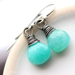 Shop Amazonite Earrings! Aqua Stone Earrings, Amazonite Gemstone Oxidized Silver Wire Wrapped Aqua Jewelry, Turquoise Teal Color Gemstone Earrings | Natural genuine Amazonite earrings. Buy crystal jewelry, handmade handcrafted artisan jewelry for women.  Unique handmade gift ideas. #jewelry #beadedearrings #beadedjewelry #gift #shopping #handmadejewelry #fashion #style #product #earrings #affiliate #ad