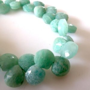 Shop Amazonite Bead Shapes! Natural Amazonite Faceted Heart Shaped Briolette Beads, Amazonite Gemstone Beads, 9mm/10mm Beads, Green Amazonite Jewelry, GDS1089 | Natural genuine other-shape Amazonite beads for beading and jewelry making.  #jewelry #beads #beadedjewelry #diyjewelry #jewelrymaking #beadstore #beading #affiliate #ad