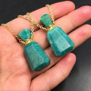 Shop Amazonite Pendants! Amazonite Perfume Bottle Necklace Pendant Essential Oil Diffuser Bottle Crystal Perfume Bottle Pendant Gemstone Crystal Scent Bottle | Natural genuine Amazonite pendants. Buy crystal jewelry, handmade handcrafted artisan jewelry for women.  Unique handmade gift ideas. #jewelry #beadedpendants #beadedjewelry #gift #shopping #handmadejewelry #fashion #style #product #pendants #affiliate #ad
