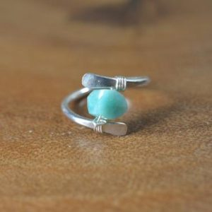 Shop Amazonite Rings! Raw Amazonite Ring in Sterling Silver, 14k Gold // Wire Wrapped Gemstone Ring // Healing Crystal // Boho, Natural Russian Blue Amazonite | Natural genuine Amazonite rings, simple unique handcrafted gemstone rings. #rings #jewelry #shopping #gift #handmade #fashion #style #affiliate #ad