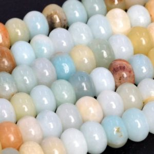 Shop Amazonite Rondelle Beads! Genuine Natural Multicolor Amazonite Loose Beads Rondelle Shape 6x4mm 8x5mm | Natural genuine rondelle Amazonite beads for beading and jewelry making.  #jewelry #beads #beadedjewelry #diyjewelry #jewelrymaking #beadstore #beading #affiliate #ad