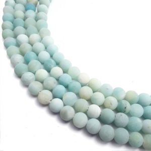 "Shop Amazonite Round Beads! 2.0mm Hole Blue Green Amazonite Matte Round Beads 6mm 8mm 10mm 12mm 15.5"" Strand 