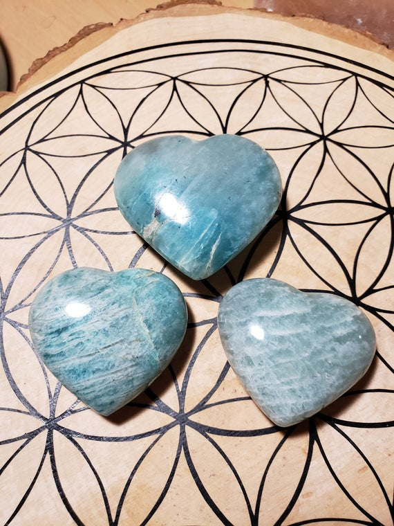 Amazonite Crystal Hearts Reiki Healing Energy Infused Handcarved Crystal Hearts