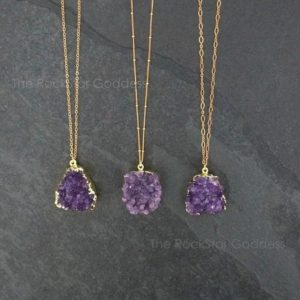 SALE / Amethyst Necklace / Amethyst Jewelry / Druzy Necklace / February Birthstone / Raw Crystal Necklace  / Gold Amethyst Druzy | Natural genuine Gemstone jewelry. Buy crystal jewelry, handmade handcrafted artisan jewelry for women.  Unique handmade gift ideas. #jewelry #beadedjewelry #beadedjewelry #gift #shopping #handmadejewelry #fashion #style #product #jewelry #affiliate #ad