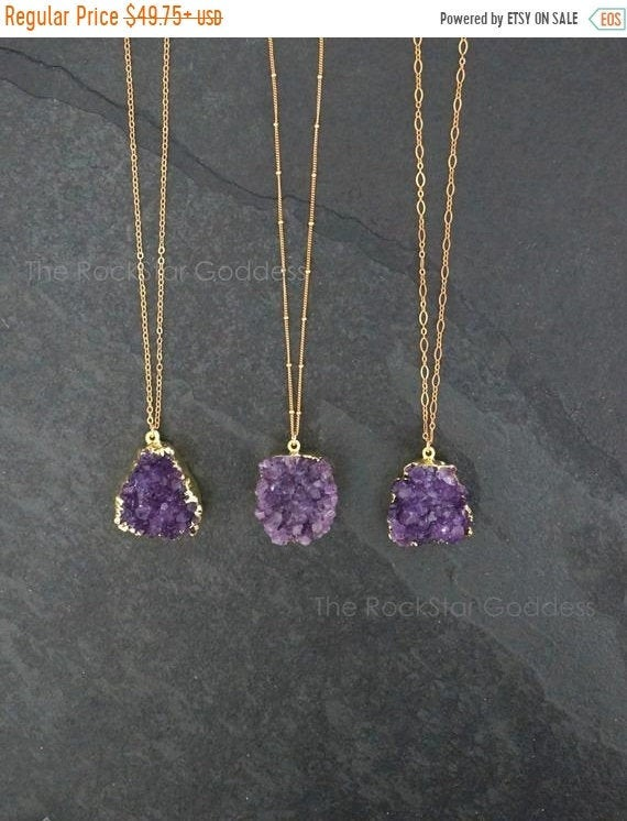 Amethyst Necklace / Amethyst Jewelry / Druzy Necklace / February Birthstone / Raw Crystal Necklace  / Gold Amethyst Druzy / Mothers Day Gift