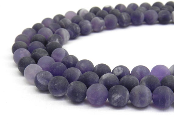 Amethyst Beads, Matte Beads, Frosted Beads, 8mm Beads, 6mm Beads, Purple Beads, Gemstone Beads, Lavender Beads, Purple Gemstone, Violet