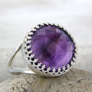 Shop Amethyst Rings! Amethyst ring,February birthstone ring,silver ring,health ring,energy ring,good luck ring,faith ring,love ring | Natural genuine Amethyst rings, simple unique handcrafted gemstone rings. #rings #jewelry #shopping #gift #handmade #fashion #style #affiliate #ad