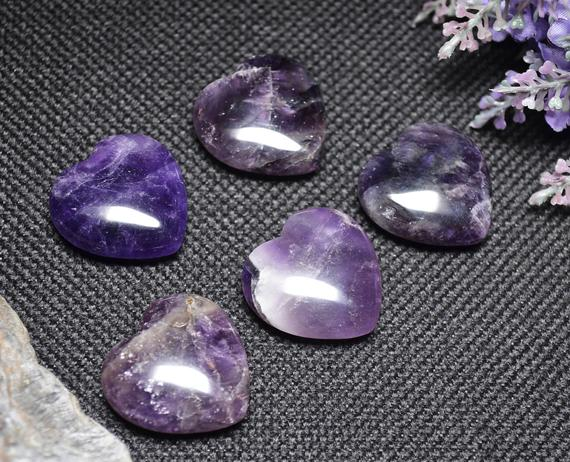 Best Hand Carved Amethyst Quartz Polished Heart Shaped/natural Amethyst Stone/worry Stone/decoration/special Gift-30mm
