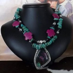Shop Ruby Zoisite Necklaces! An Absolute Stunning Southwest or Dressy Turquoise and Ruby Zoisite Necklace | Natural genuine Ruby Zoisite necklaces. Buy crystal jewelry, handmade handcrafted artisan jewelry for women.  Unique handmade gift ideas. #jewelry #beadednecklaces #beadedjewelry #gift #shopping #handmadejewelry #fashion #style #product #necklaces #affiliate #ad