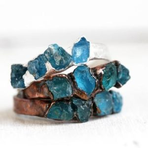 Shop Apatite Rings! Blue Apatite Ring  – Raw Blue Crystal Ring – Multi Stone Ring – Stone Stacking Ring | Natural genuine Apatite rings, simple unique handcrafted gemstone rings. #rings #jewelry #shopping #gift #handmade #fashion #style #affiliate #ad